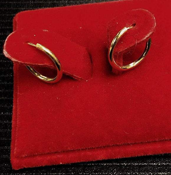 1.0g Pure 999.9 24K yellow gold Hoop earrings