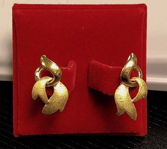 7.0g Pure 999.9, 24K yellow gold Ribbon design earrings