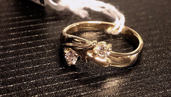 18K Italian yellow gold Two-stone diamond ring