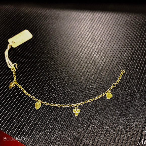 Pure 999.9, 24K yellow gold Baby charm bracelet