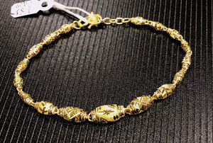Pure 999.9, 24K yellow gold Diamond cut Barrel bracelet