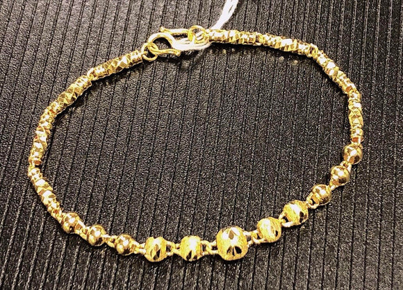 Pure 999.9, 24K yellow gold Diamond-cut ball bracelet