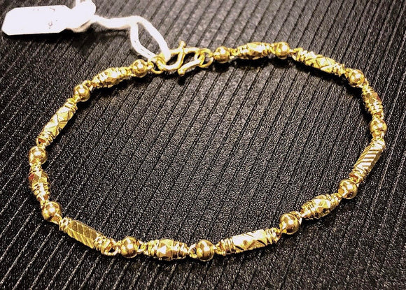 Pure 999.9, 24K yellow gold Diamond-cut Tube and ball bracelet