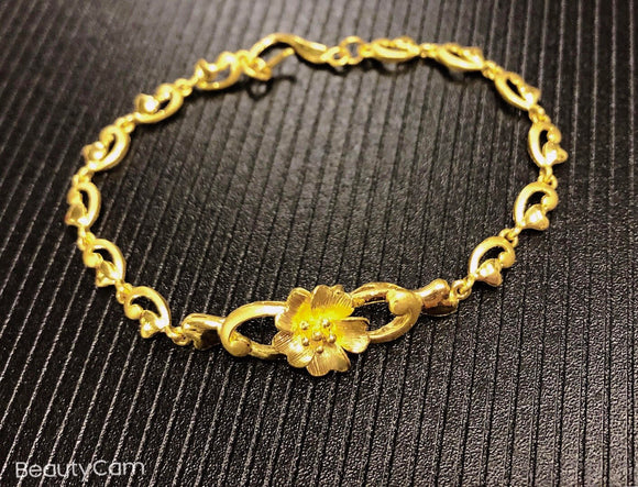 Pure 999.9, 24K yellow gold Flower-vine bracelet