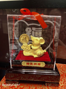 24K Gold Year of the Rat figurine