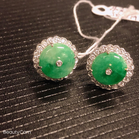 Natural Emerald green Burmese Jadeite Huai-gu diamond stud earrings