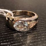Aquamarine 14K yellow gold diamond ring