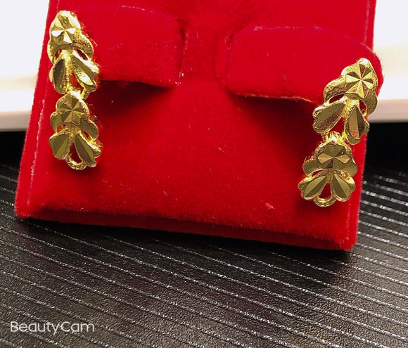 Pure 999.9 24K yellow gold Floral drop earrings