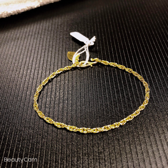 Pure 999.9, 24K yellow gold Singapore bracelet with heart charm