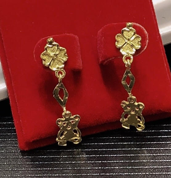 4.5g Pure 999.9 24K yellow gold Teddy Bear drop-earrings