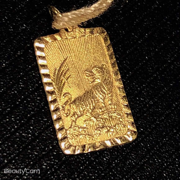 Pure 999.9, 24K yellow gold Year of the Tiger pendant