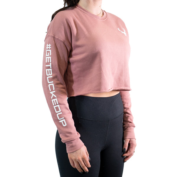 Women's Mauve Cropped Crew Neck