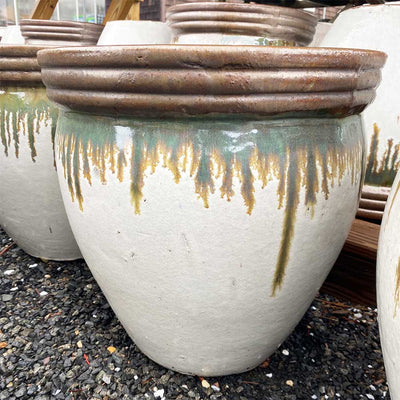 Round Copper/White Planter
