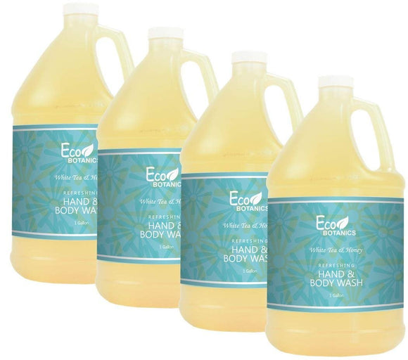 Eco Botanics Hotel Body Wash/Hand Soap | 1 Gallon | Designed to Refill Soap Dispensers | by Terra Pure (Set of 4)