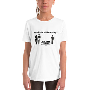 Youth Short Sleeve T-Shirt #AlohaSocialDistancing Series White/Grey - ALOHA GIRL STYLE