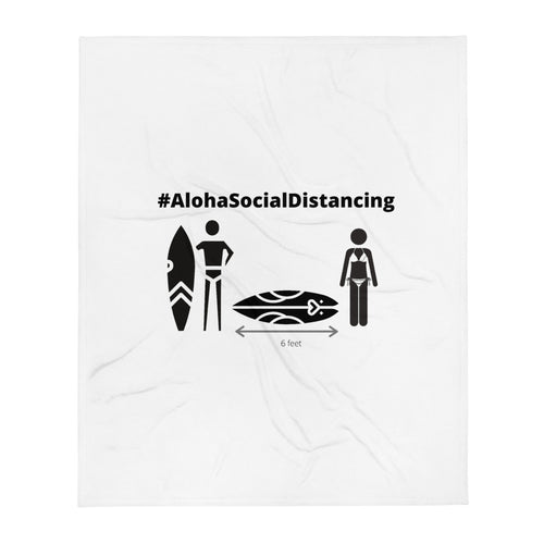Throw Blanket #AlohaSocialDistancing Series White オフィスでのひざ掛けにどうぞ! - ALOHA GIRL STYLE