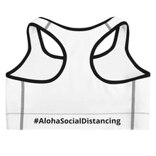 Load image into Gallery viewer, Sports bra #AlohaSocialDistancing Series White - ALOHA GIRL STYLE