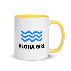 Mug with Color Inside ALOHA GIRL STYLE WAVE 4 Colors (Yellow/Red/Blue/Black) - ALOHA GIRL STYLE