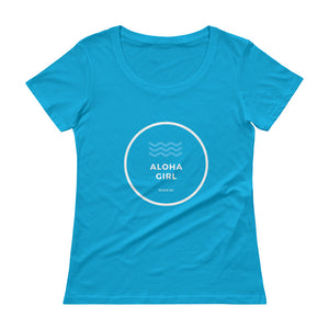 Ladies' Scoopneck T-Shirt ALOHA GIRL STYLE WAVE Various Colors - ALOHA GIRL STYLE