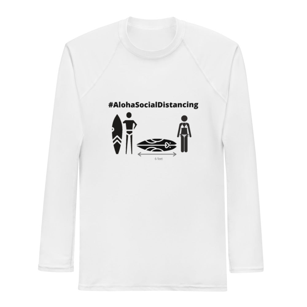 Men's Rash Guard #AlohaSocialDistancing Series White - ALOHA GIRL STYLE
