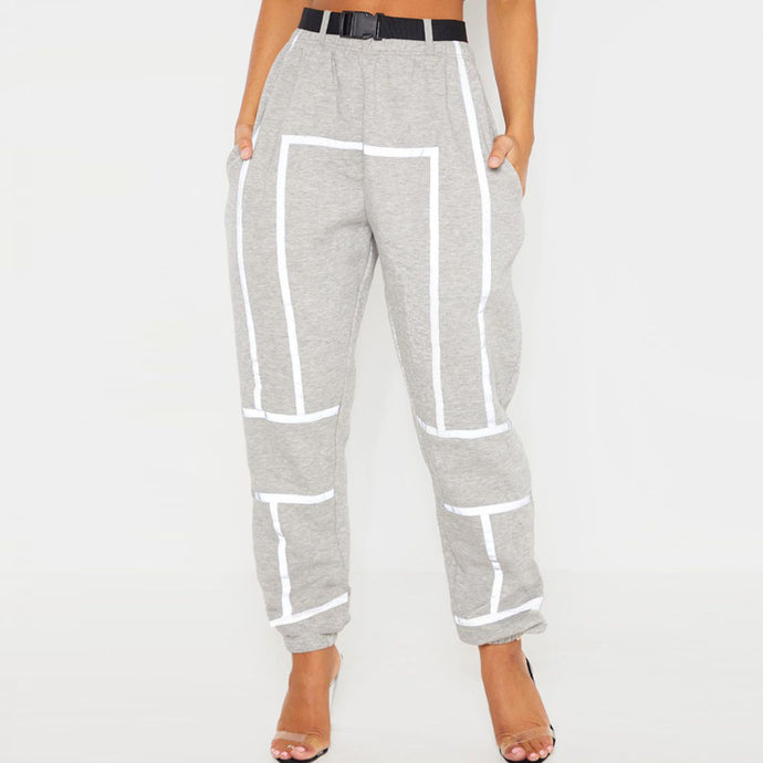 High Waist Reflective Sweatpants