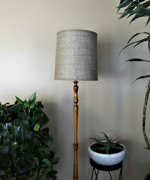 Open image in slideshow, Burlap barrel lampshade.