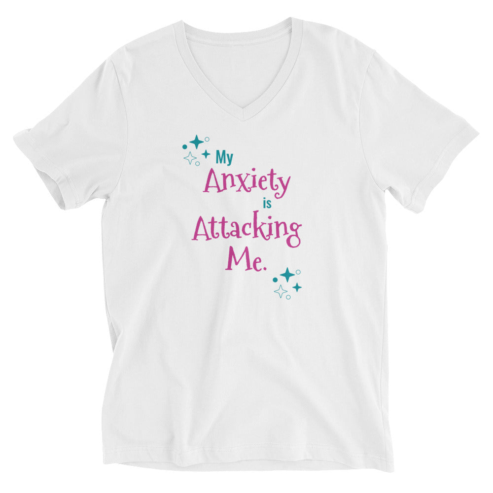 My Anxiety is Attacking Me Unisex Short Sleeve V-Neck T-Shirt