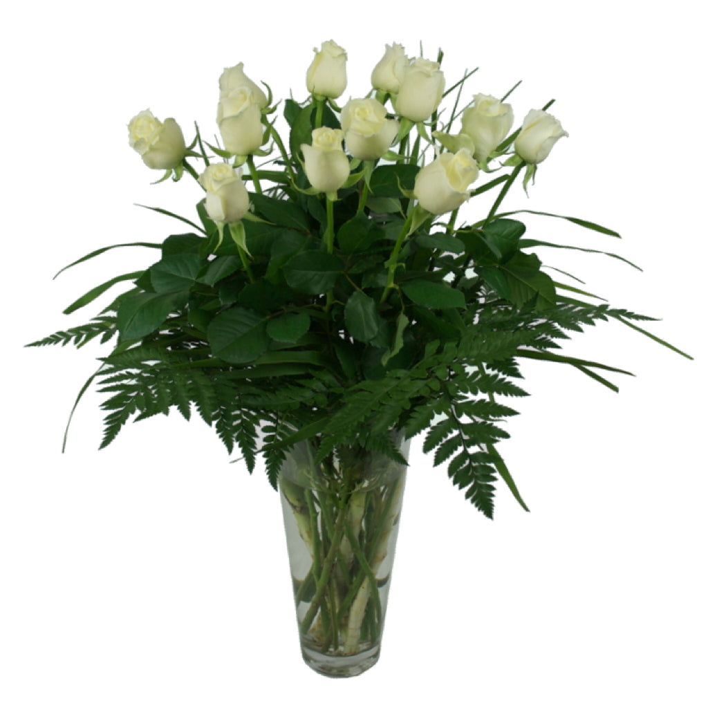 Vase Arrangement of 12 Roses and Foliage
