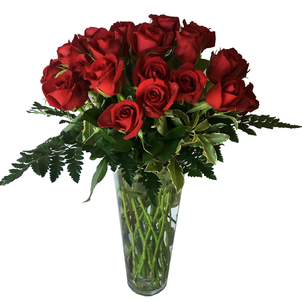 Vase Arrangement of 24 Roses and Foliage