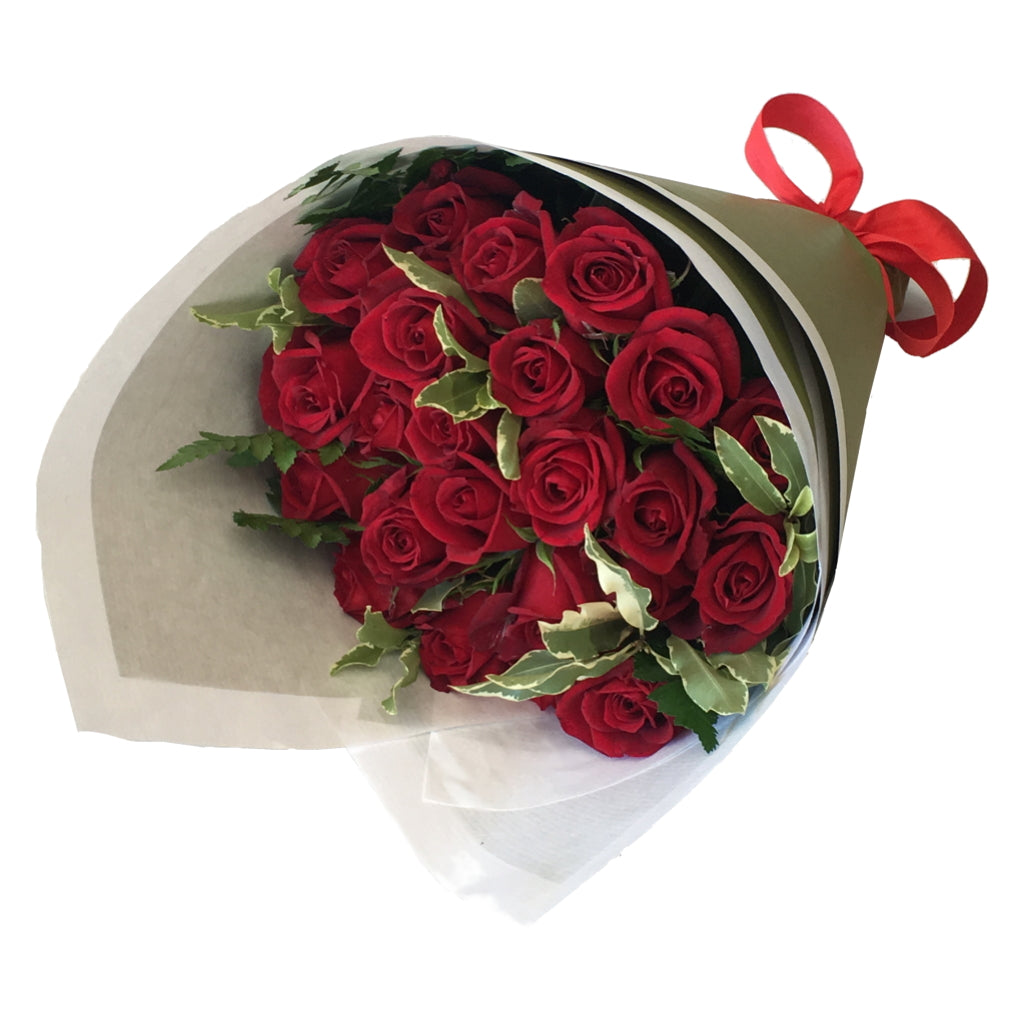 Bouquet of 24 Long Stemmed Roses with Foliage
