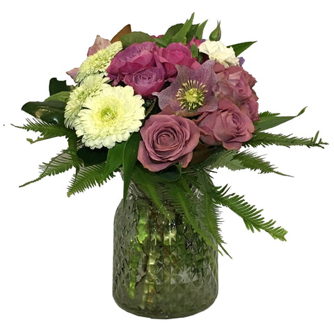Cross Hatch Posy Vase Arrangement of Mixed Seasonal Flowers