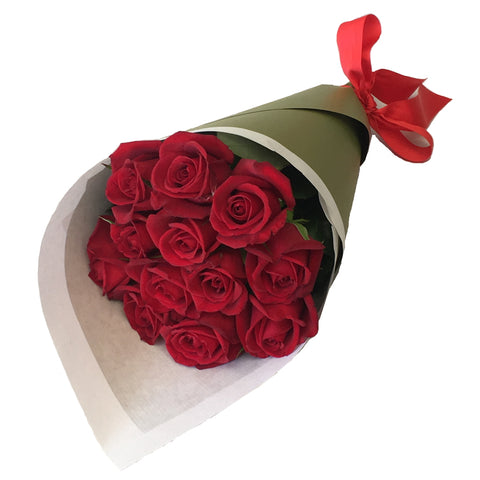 Bouquet of 12 Long Stemmed Red Roses