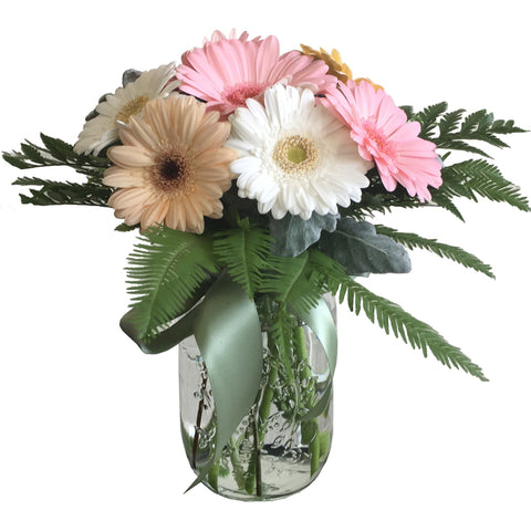 Mason Jar Arrangement of Gerberas