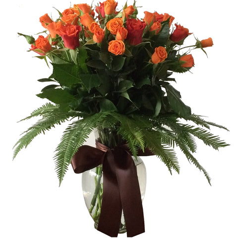 Ginger Vase Arrangement of Roses