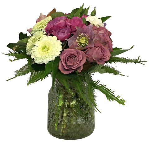 Posy Vase Arrangement of assorted flowers, bright, pastel
