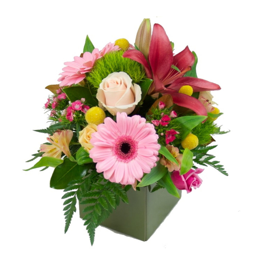 Box Arrangement Of Mixed Flowers Small Tamar Valley Roses