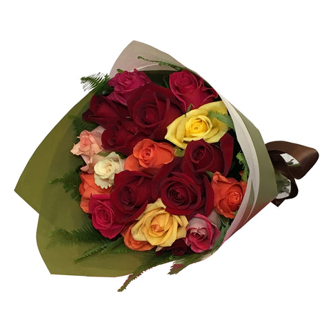 Posy of Mixed Coloured Roses