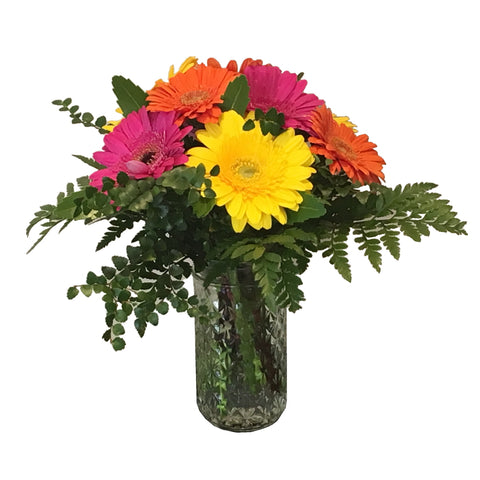Quilted Jar Arrangement of Gerberas - Small