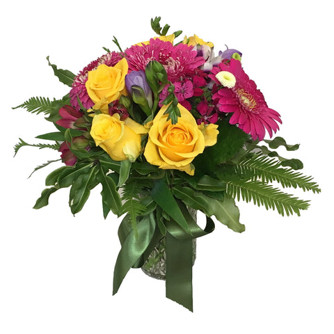 Quilted Jar Arrangement of Assorted Flowers - Small
