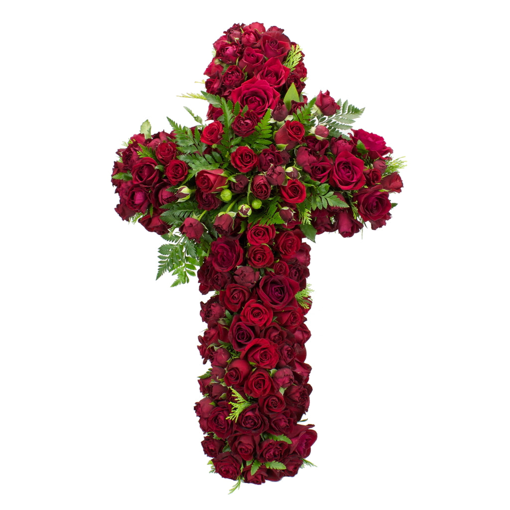 Funeral Cross Rose Tribute