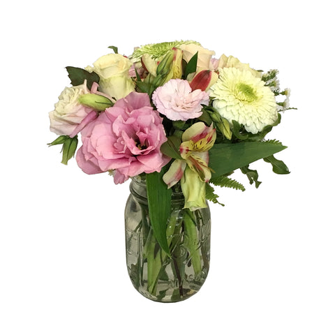 Mason Jar of Arrangement of Assorted Flowers - Small