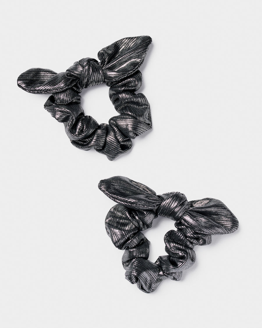 Metallic Bow Scrunchies