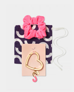 Initial Heart Bag Charm Mini Gift Set
