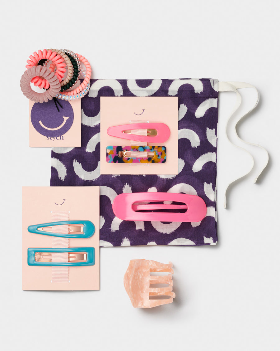 Womens Gift Set Spiral hair bands Bulldog clip Hair clips