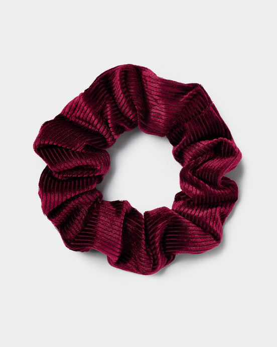 Ribbed Burgundy Scrunchie