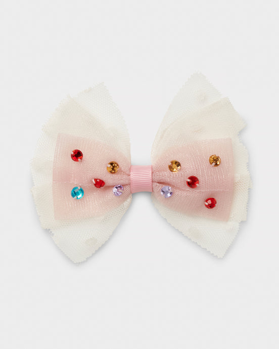 Girls Gift Tulle bow hair clip