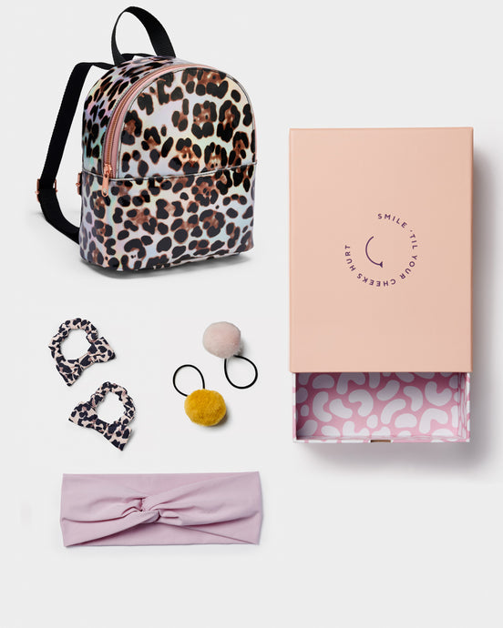 Girls Gift Box Leopard backpack Headband Bow scrunchie Fur pom ponies