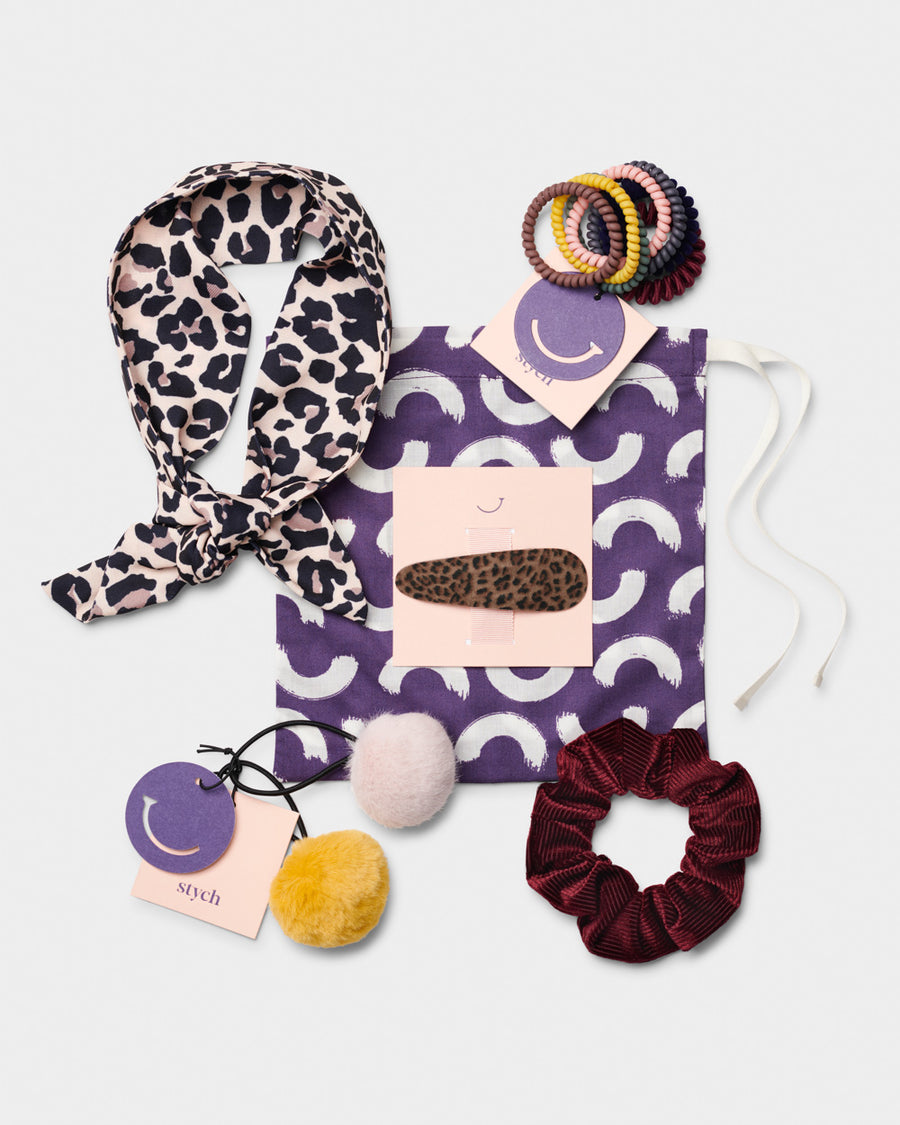 Womens Gift Set Head scarf Spiral hair bands Fur pom ponies Scrunchie Leopard clip