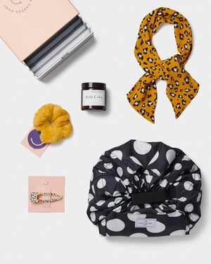Womens Gift Box Makeup bag Candle Head scarf Fur scrunchie Spotty clip