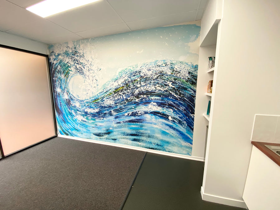 ROLLING BLUE WAVE - Wall Mural Art